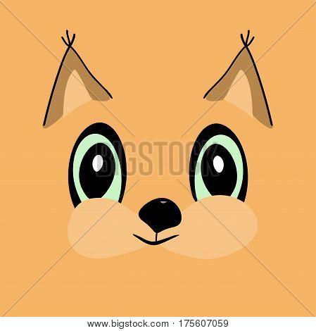 Squirrel head cute cartoon. Rodent vector illustration