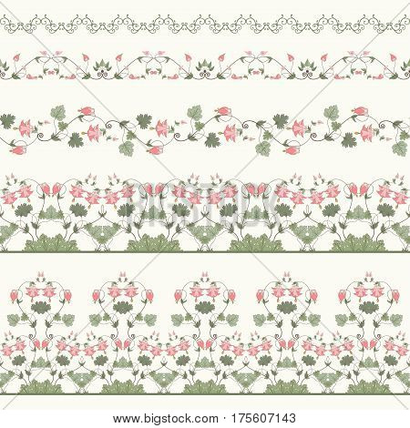 Vector set of five seamless borders. Aquilegia plants contain flowers buds and leaves. Make your floral designs.