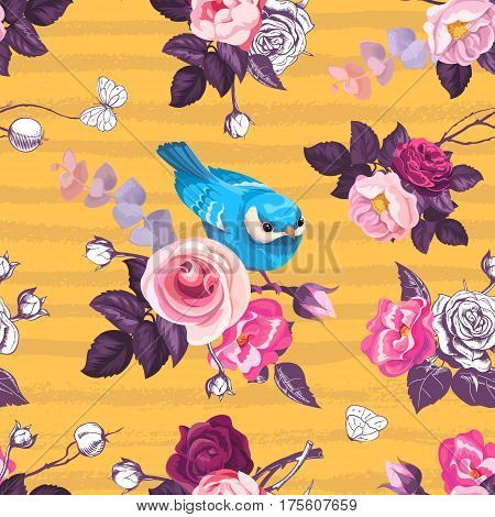 Beautiful seamless pattern with pink rose flowers and small blue bird against orange background with horizontal grungy stripes. Vector illustration for textile print wrapping paper greeting card.