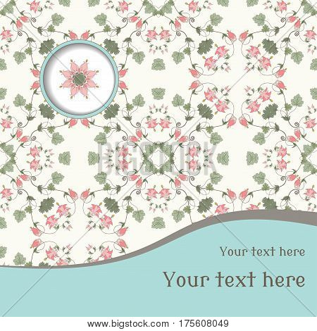 Vector card. Vintage floral pattern. Aquilegia plants contain flowers buds and leaves. Place for your text. Perfect for invitations announcement or greetings.