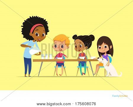Smiling multiracial children sit at table and have breakfast while mother pour milk into gasses. Kids eating healthy morning meal. Daily family activity concept. Vector illustration for flyer poster.