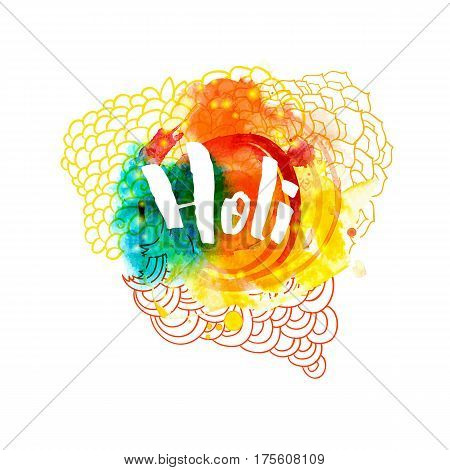 Holi holiday greeting abstract logo emblem in different colors isolated on white background. Indian festival of colors. Typography, colorful logo. Vector illustration. Usable for banners, greeting cards, flyers and posters.
