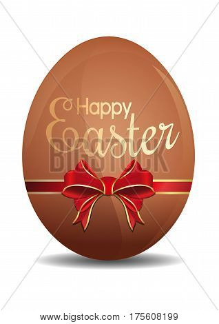 Easter egg tied with a red ribbon with a bow. Easter egg with a congratulatory inscription. Easter egg isolated on a white background. Happy Easter. Vector illustration