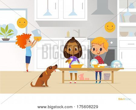 Children doing daily routine activities in kitchen. Two kids washing dishes and red head boy holding pitcher with orange juice. Montessori environment concept. Vector illustration for poster flyer.
