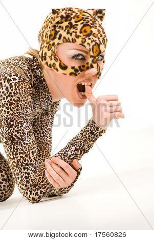 Hot beautiful model in latex leopardess costume sucking thumb