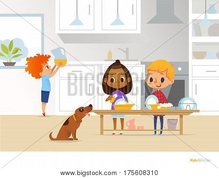 Children cleaning up kitchen. Two multiracial kids washing dishes and boy putting pitcher with drink on table on background. Useful home activities concept. Vector illustration for flyer website.