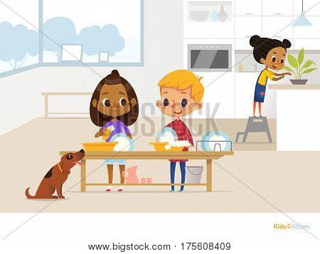 Smiling children doing daily routine in kitchen. Two kids washing dishes with soap foam funny dog and girl taking care of plant on background. Clean up concept. Vector illustration for flyer poster.