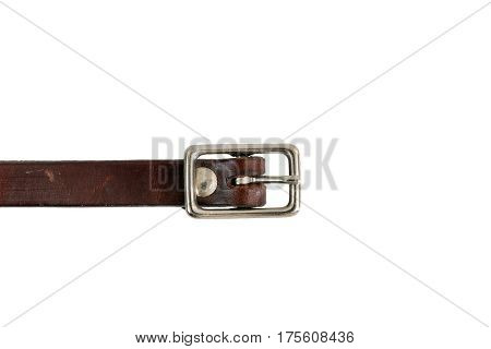 Buckle on a leather strap with white backgrounf.