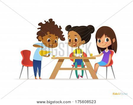 Happy kids having breakfast by themselves. Two girls eating morning meals at table and boy pouring drink into glass. Child nutrition concept. Vector illustration for banner poster website flyer.