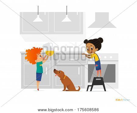 Two kids cooking morning breakfast in kitchen. Girl in apron standing on stool boy putting pitcher with juice on table and dog. Obedient children concept. Vector illustration for banner website.