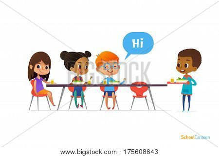 Multiracial kids sitting at table in school canteen and greeting newcomer boy holding tray with food. Children s relationships concept. Vector illustration for banner website poster advertisement.