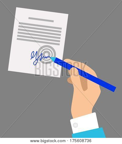 Hand with blue pen signing official document isolated on grey background. Final step of buying or selling things that is confirmed by human signature. Vector illustration of business agreement process