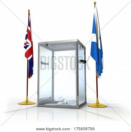 Realistic empty transparent ballot box with voting paper and flag of England and Scotland, 3d illustration