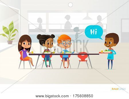 New pupil carrying tray of food and greeting classmates sitting at table in canteen. Children having lunch. Making school friends concept. Vector illustration for banner website poster flyer.