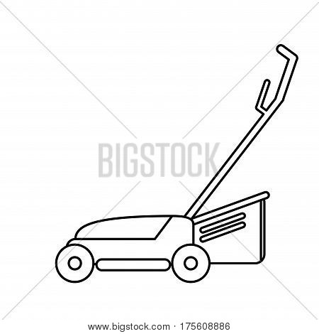 hand lawn mower gardening thin line vector illustration eps 10