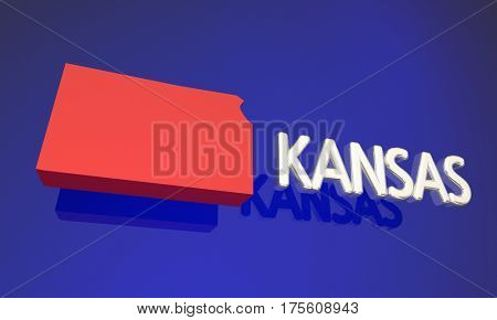 Kansas KS Red State Map Name 3d Illustration
