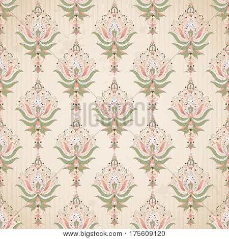 Vector seamless background. Blotches stripes and vintage damask pattern.