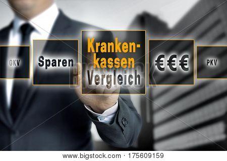 Krankenkassen Vergleich (in german Healthcare comparison save) touchscreen is operated by a businessman.