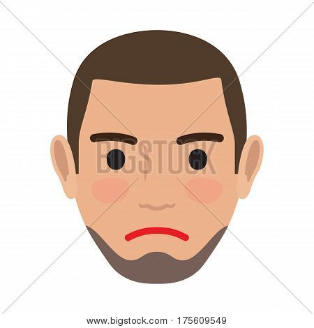 Indifferent man avatar user pic. Vector illustration of front view of apathetic person. Male head with unconcerned facial expression. Adult profile icon with uncaring face, character without any mood
