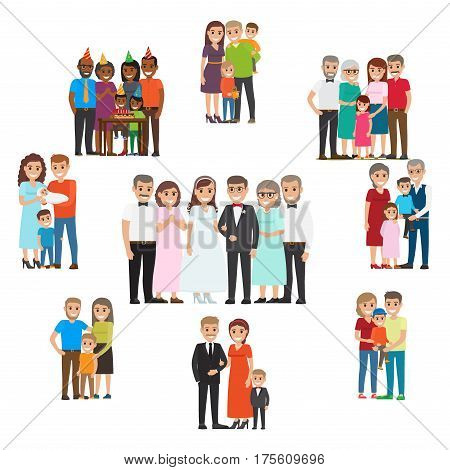Gathered family for holidays and special events collection on white in flat style. Smiling people celebrating birth of child, wedding with relatives, happy birthday and other family holidays