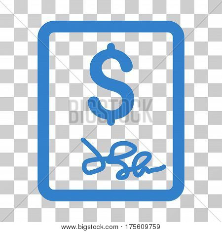 Invoice Page icon. Vector illustration style is flat iconic symbol cobalt color transparent background. Designed for web and software interfaces.