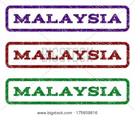 Malaysia watermark stamp. Text caption inside rounded rectangle with grunge design style. Vector variants are indigo blue, red, green ink colors. Rubber seal stamp with scratched texture.