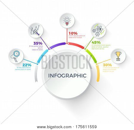 Infographic white button with dark inscription inside and rounded colourful arrows around it, percentages near, small buttons with pictures. Vector template for diagrams, presentations and charts.