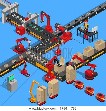 Industrial conveyor process of producing technical equipments on blue background. Vector illustration of modern gadget production, packing in boxes by machinery robots on conveyor. Isometric factory