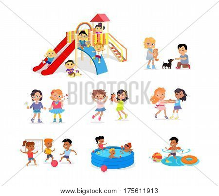 Children spending time on colourful playground, in blue pool, in water with toy and ball, playing football, caring about cat and dog, Guinea pig. Vector white poster with joyful kids having fun