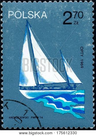 UKRAINE - CIRCA 2017: A stamp printed in Poland shows old sailing yacht opty 1969 circa 1974