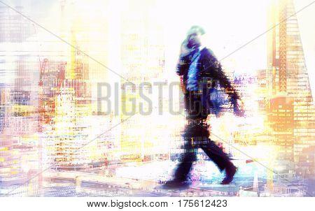 Walking Businessmen in suit. Multiple exposure image. Business concept illustration. London