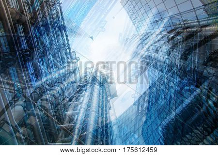 City of London skyscrapers multiple exposure image. Business concept