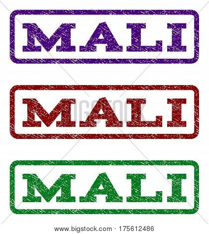 Mali watermark stamp. Text tag inside rounded rectangle frame with grunge design style. Vector variants are indigo blue, red, green ink colors. Rubber seal stamp with scratched texture.