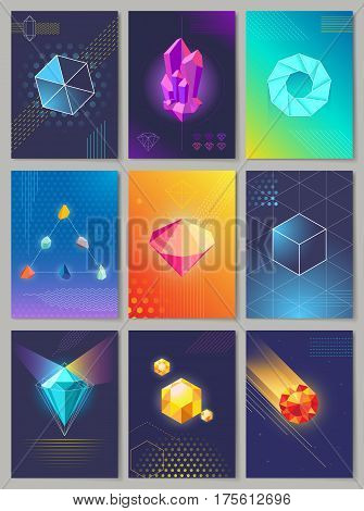 Precious stones colourful collection of nine. Vector illustration of falling and still stones in round square triangular unusual shapes and in blue, orange, dark, violet colors in flat design