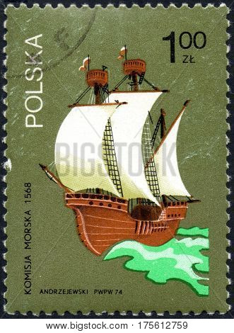 UKRAINE - CIRCA 2017: A stamp printed in Poland shows old sailing ship Maritime Commission in 1568 circa 1974