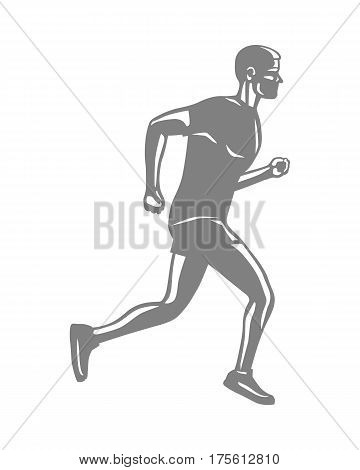 Silhouette of isolated running male person on white background. Man in sportswear and running shoes. Sport lifestyle colourless vector illustration. Motion movement in cartoon style flat design