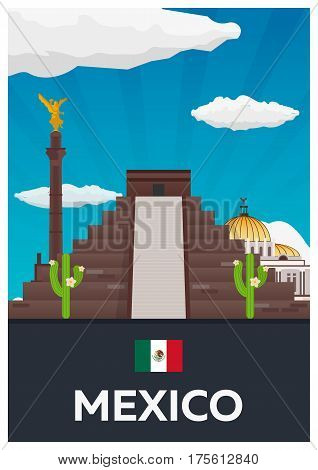 Poster Travel To Mexico. America. Chichen Itza. Vector Illustration.