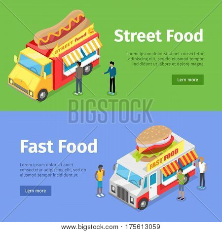 Street food and fast food movable minivans selling hotdogs and burgers. Vector web banner of people buying unhealthy junk food in yellow and white minivans and some written text information.