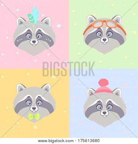 Set of super cute and funny raccoon in cartoon style. Vector illustration.