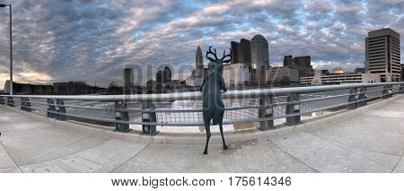 COLUMBUS, OHIO - MARCH 5, 2017:  The Deer on a Bridge statue created by artist Terry Allen looks out over the Scioto river at the skyline of Columbus, Ohio.
