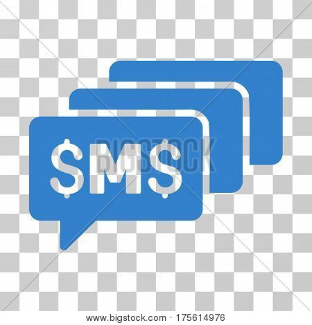 SMS Messages icon. Vector illustration style is flat iconic symbol cobalt color transparent background. Designed for web and software interfaces.