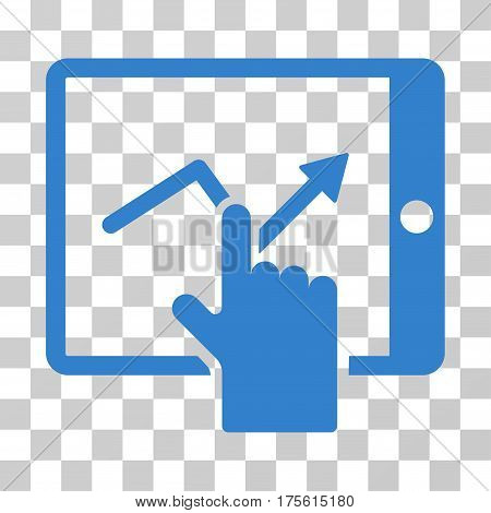 Tap Trend On PDA icon. Vector illustration style is flat iconic symbol cobalt color transparent background. Designed for web and software interfaces.