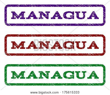 Managua watermark stamp. Text caption inside rounded rectangle with grunge design style. Vector variants are indigo blue, red, green ink colors. Rubber seal stamp with scratched texture.