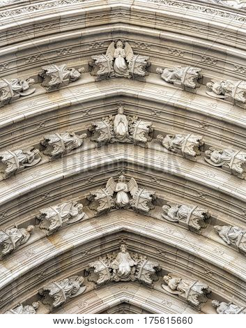 Barcelona (Catalunya Spain): the medieval cathedral in gothic style. Door