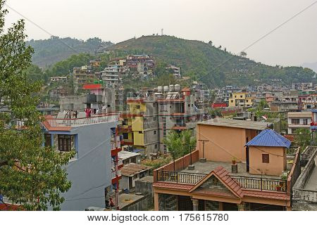 View of Pokhara Nepal in the Foothills of the Himalayan Mountains