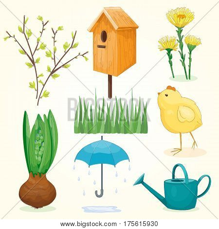 Spring and summer set, green and yellow colors. Vector illustration, cartoon style