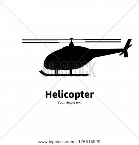 Vector illustration of a black helicopter silhouette. Isolated on white background. Icon rotorcraft side view, profile.