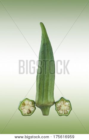Close-up image of okra on abstract greenish background