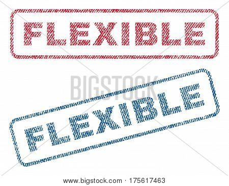 Flexible text textile seal stamp watermarks. Blue, red fabric vectorized texture. Vector caption inside rounded rectangular banner. Rubber sign with fiber textile structure.