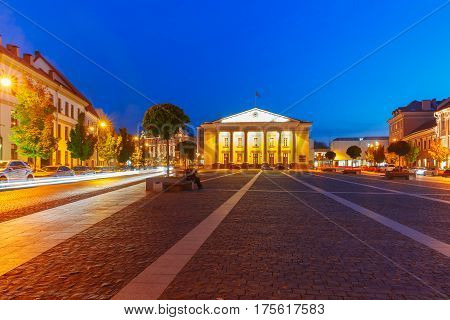 Town Hall Square in Old Town at night of Vilnius, Lithuania, Baltic states.